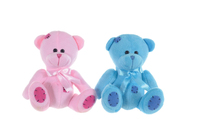 "BEAR BOY SITTING 6.5"" PK/BLUE"