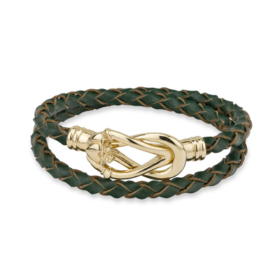 GP CLADDAGH LEATHER WRAP BRACELET