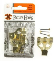 12844 6 CARDS NO.4 BRASS.PICT.HOOKS