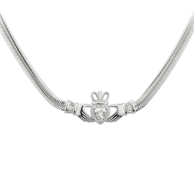 S/S WHITE CZ HEART CLADDAGH NECKLET(BOXED)