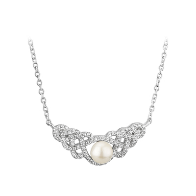 S/S CZ & PEARL CELTIC KNOT NECKLET(BOXED)