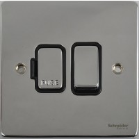 Schneider Ultimate Low Profile Fused Spur with Switch Polished Chrome with Black Insert | LV0701.0068