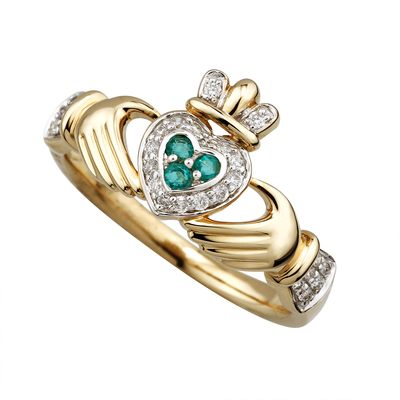 14K DIAMOND & EMERALD CLADDAGH RING(BOXED)
