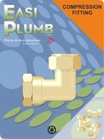 "Easi Plumb 1/2"" x 3/4"" F.I. Brass Compression Elbow"