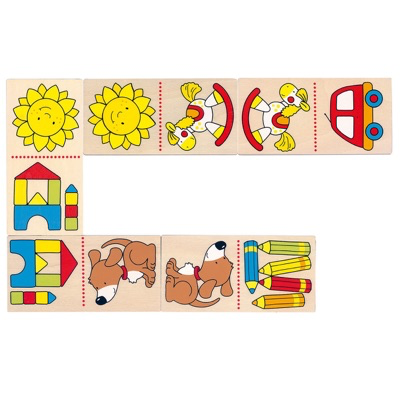 Wooden dominoes game for toddlers