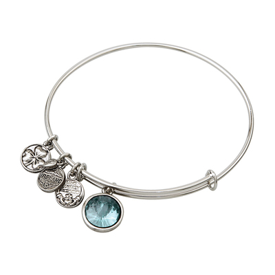 RHODIUM BIRTHSTONE CHARM BANGLE - MARCH