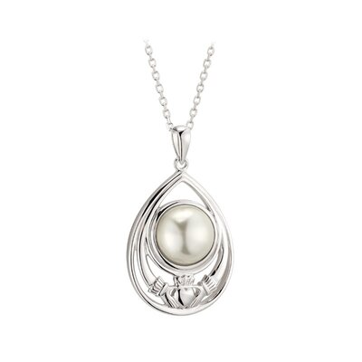 contemporary irish sterling silver claddagh glass pearl pendant S46834 on 18 inch sterling silver rolo chain from Solvar Jewellery