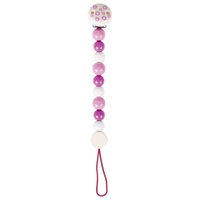 Rose pink wooden pacifier chain for baby's soother