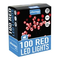 KINGFISHER 100 STATIC RED LED CHRISTMAS LIGHTS