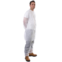 Supertouch Non-Woven Coat with Poppers, White
