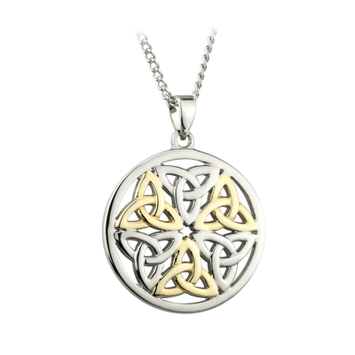 TWO TONE PLATED CELTIC TRINITY KNOT PENDANT