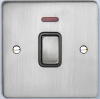 DETA Flat Plate 20Amp double pole switch with neon Satin Chrome with Black Insert | LV0201.0173
