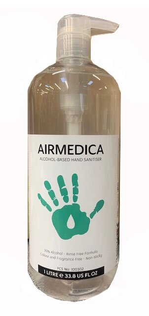 Airmedica Hand Sanitiser Gel with Pump 1 Litre - DMI Dental Supplies Ireland - Next Day Delivery