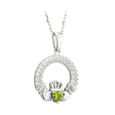 PERIDOT CLADDAGH PENDANT (AUGUST BIRTHSTONE)