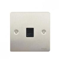 Flat Plate Stainless Steel RJ11 TEL Socket Black Insert|LV0701.0113