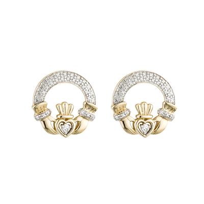 14K DIAMOND CLADDAGH EARRINGS(BOXED)