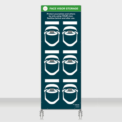 Mobile face visor storage station - to take 6x face visors