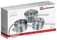 St Steel Metallic Saucepan 3Pc Set Quartz (Carton Of 4)