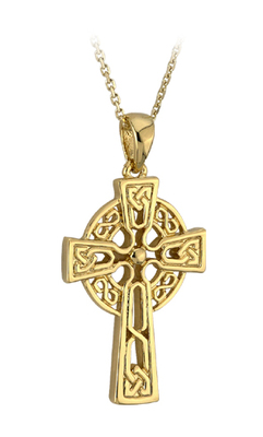 9K MEDIUM CELTIC CROSS PENDANT