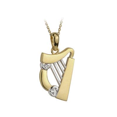 14k two tone gold harp pendant s44063 from Solvar