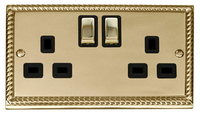 Click Deco Georgian Cast Brass with Black Insert 'Ingot' Twin socket | LV0101.0038