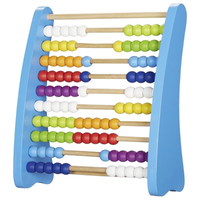 Large colourful wooden abacus for kids - 10 bars, 100 beads, 9 colours
