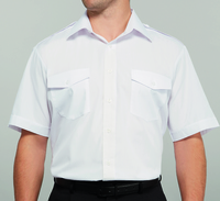 Disley Gents White Pilot Shirt Short Sleeve