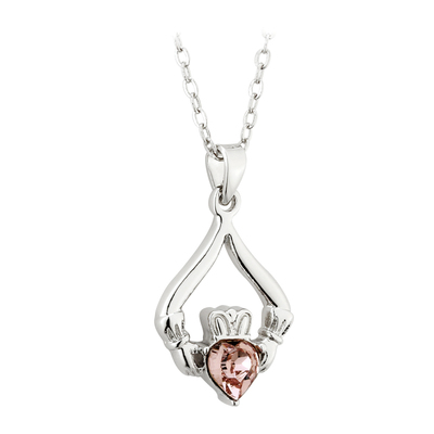 RHODIUM PLATED CLADDAGH BIRTHSTONE - JUNE