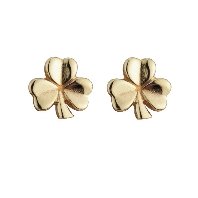 nine karat Gold Shamrock Stud Earrings S3240 from Solvar Jewellers, Ireland