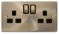 Click Deco Victorian Antique Brass with Black Insert Twin Switched Socket | LV0101.0014
