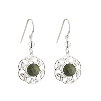 SS MARBLE OPEN CELTIC DROP EARRINGS