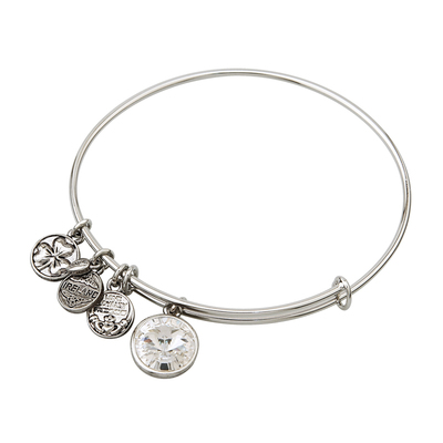 RHODIUM BIRTHSTONE CHARM BANGLE - APRIL