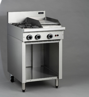 Blue Seal Cobra Cobra® Series Medium Duty Range, gas, 600 mm, (2) 5.5 kW open cast iron & (1) 5.5 kW griddle burners, open cabinet base, splashback, stainless steel finish, adjustable front feet with rear rollers, 16.5 kW (total GAS kW), 56,400 BTU, CE 60