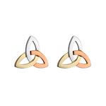 14K  MULTI GOLD COLOUR TRINITY KNOT STUD EARRINGS
