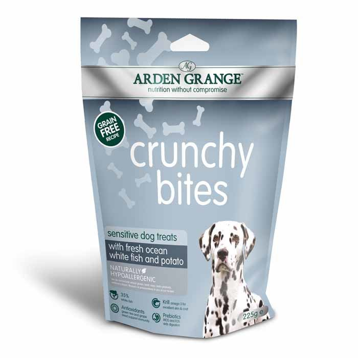 Arden Grange Crunchy Bites Sensitive – grain free – ocean white fish and potato 225g