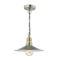 Esra 1 Light Pendant, Antique Chrome & Antique Brass | LV1802.0066