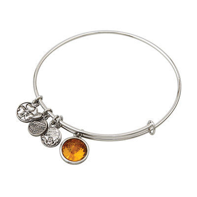 RHODIUM BIRTHSTONE CHARM BANGLE - NOVEMBER