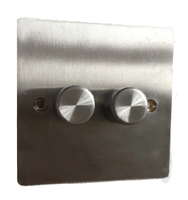DETA Flate Plate 2gang Dimmer Satin Chrome | LV0201.0187