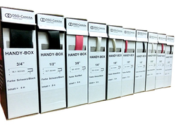 No more messy rolls of heat shrink tubing taking up space in your van, stores or workshop. The new Deray HandyBox range of heat shrink from our suppliers DSG means you can easily store and manage all your heat shrink.