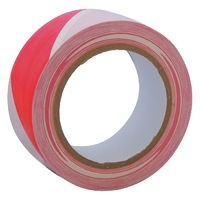 "2"" x 33m Self Adh. Hazard Tape (Red + White) (WT398/5)"