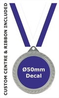 70mm Medal / CUSTOM Centre & BLUE Ribbon (S)