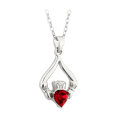 RHODIUM PLATED CLADDAGH BIRTHSTONE - JANUARY