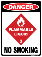 DANGER Flammable Liquid 3 Daimond No Smoking Sign