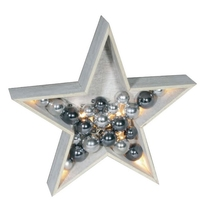 LED WOODEN STAR WITH XMAS BAUBLES WHITE AND SILVER COMES WITH  BATTERIES 006X04001