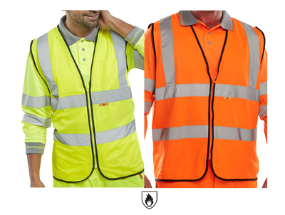 Hi-Visibility Flame Retardant Vest 2 Band 2 Brace Yellow or Orange