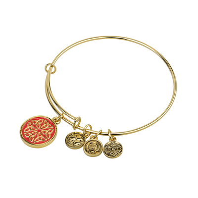 GOLD TONE ENAMEL TRINITY KNOTS BANGLE