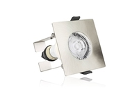 EvoFire 70mm cut-out IP65 Fire Rated Static Downlight Square Satin Nickel GU10 Holder with Bracket