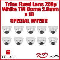 Triax Fixed  720p TVI Dome 2.8m White X 10