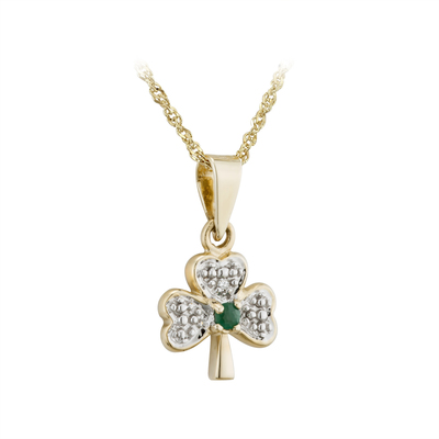 14K DIAMOND & EMERALD SHAMROCK PENDANT