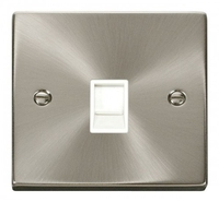 Click Litehouse DECO 1G RJ11 Outlet White Insert Satin Chrome